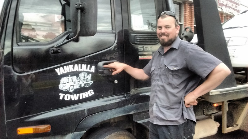 James, mechanic with his flat bed tow truck in Yankalilla, South Australia.